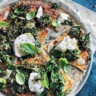 Cauliflower Pizza with Mozzarella, Kale and Lemon Recipe