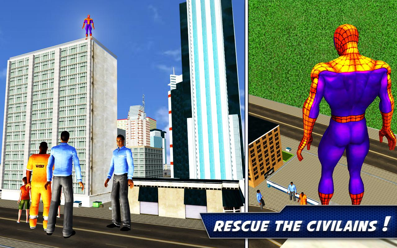 Flying Spider Rope Hero: Crime City Rescue Mission- screenshot