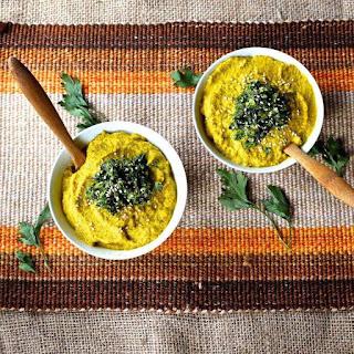 Golden Beet & Cauliflower Soup with Parsley Pumpkin Seed Pesto
