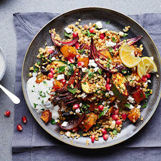 Roasted Spiced Veg, Freekeh And Feta Salad With A Yogurt And Mint Dressing