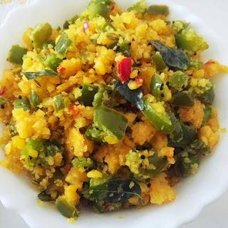 Capsicum Usili Recipe (Tamil Nadu Style Capsicum cooked with lentils spice mix)