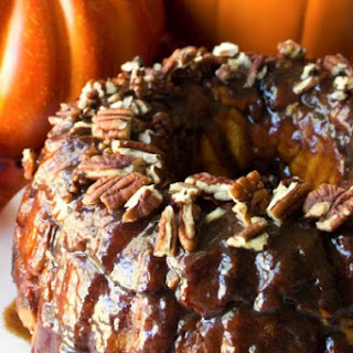 Pumpkin Spice Monkey Bread with Salted Caramel Glaze