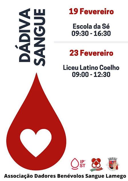 Dádiva de Sangue – Lamego – 19 e 23 de fevereiro de 2020