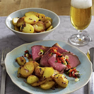 Cold Roast Beef with Pan Fried Potatoes and Roasted Red Peppers.