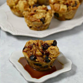 Bacon Bourbon Bread Pudding Muffins With Spiced Bourbon Syrup #BaconMonth