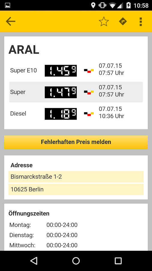 ADAC Spritpreise- screenshot