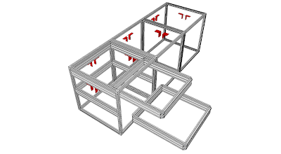 Photo: Same as First illustration + 2 bare cubes - Red brackets denote electrical+network connector locations.