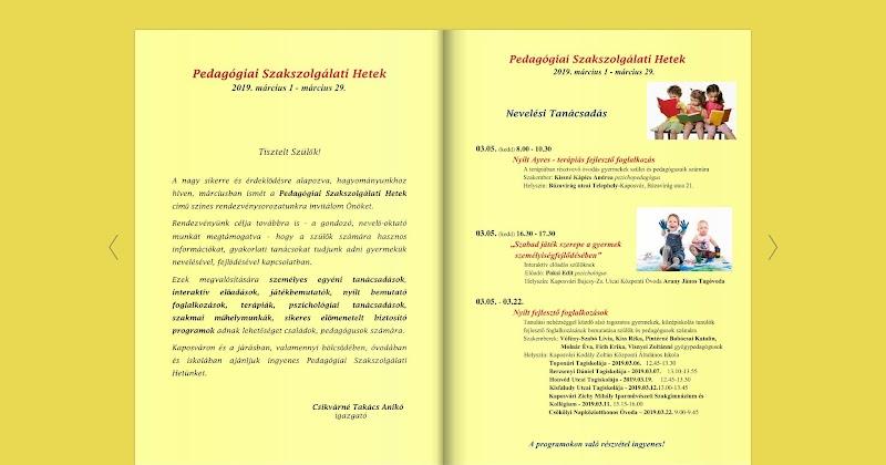 Pedagógiai Szakszolgálati Hetek - Kaposvár 2019 - Programfüzet