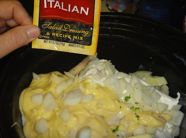 Add 1 stick of butter, chopped onion, cans of soup, and 1 pkg of...