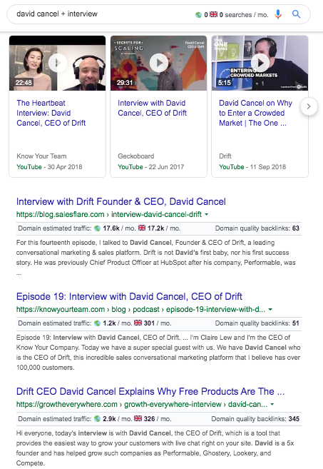 """SERP for the query """"david cancel + interview"""""""