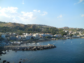 Photo: The town of Aci Castello, from the top of the castle