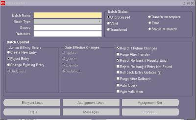 ERP ORACLE APPLICATIONS : Uploading Data to Batch Element Entries