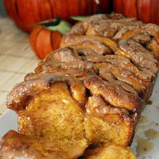 Pull-Apart Cinnamon Sugar Pumpkin Bread with Buttered Rum Glaze