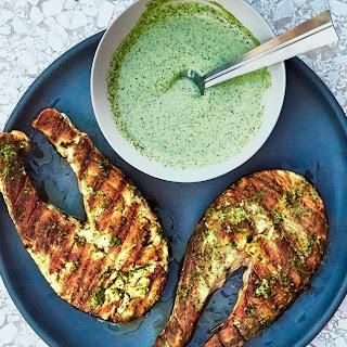Grilled Salmon Steaks with Cilantro-and-Garlic Yogurt Sauce Recipe