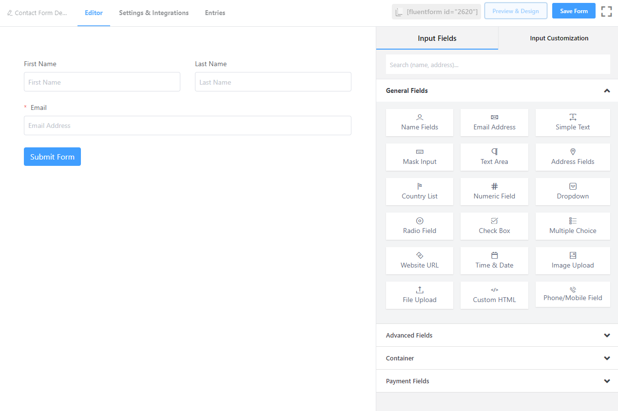 fluent forms, creating a form with fluent forms