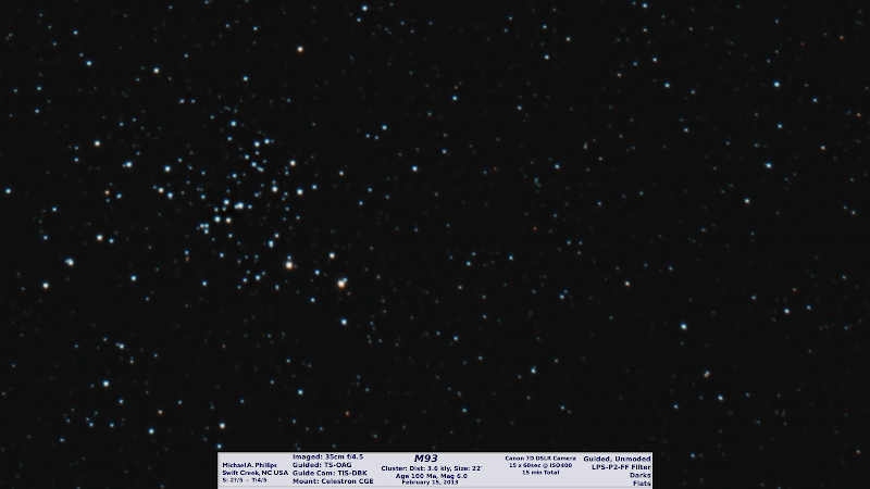 Photo: Springcleaningmarches on for day 41. This is another redo of a star cluster in effort to reign in my DSO skills. Actually practice is good but this night of February 15, 2013 I was after Asteroid 2012 DA 14 but was thwarted, or that is another post later. Here is the previous version with the same telescope, different camera and techinques:https://plus.google.com/photos/108750361778865447048/albums/5846502832257385345/5847448881610861282?banner=pwa
