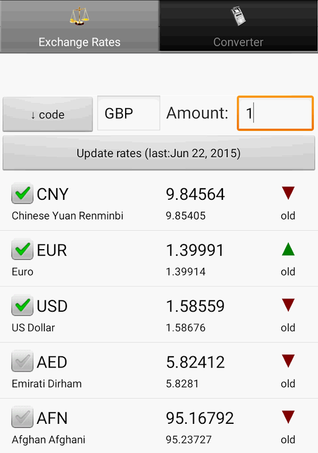 Exchange rate. All currencies (Currency converter)- screenshot