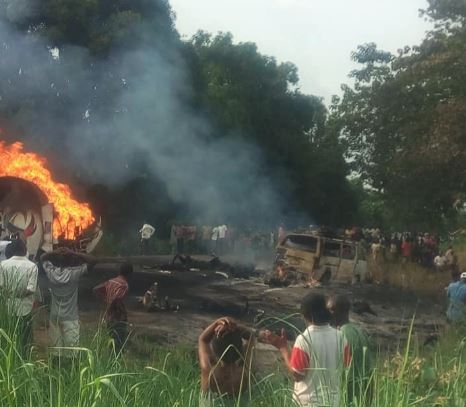 Fuel tanker which toppled exploded causing serious injuries in Benue state Nigeria.