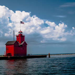 Big Red by Greg Croasdill - Buildings & Architecture Public & Historical ( lake michigan, holland, lighthouse, summer, lake,  )