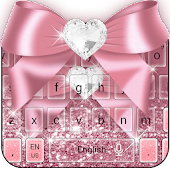 Rose Gold Diamond Bow Pink Glitter Keyboard