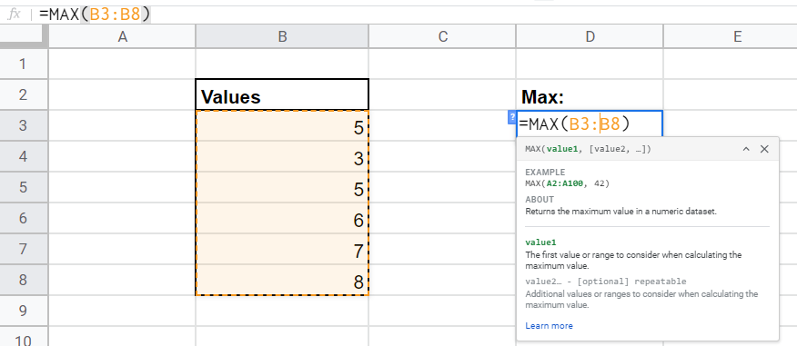 Shows how to use the max/maximum formula