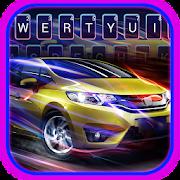 Cool 3D Neon Blue Sports Car Keyboard
