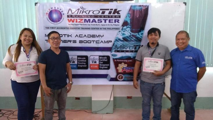 CAREER OPP. Maricel Lim (faculty) and Dionesio Estupa (staff) earned the Mikrotik Certified Network Associate (MTCNA), MikroTik Certified User Management Engineer (MTCUME), and MikroTik Certified Routing Engineer (MTCRE) certification