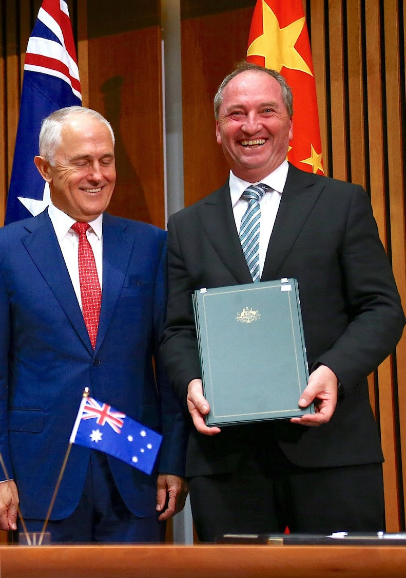 Australia's Prime Minister Malcolm Turnbull stands next to Barnaby Joyce, Australia's Deputy Prime Minister and Minister for Agriculture and Water Resources. Image: REUTERS/David Gray