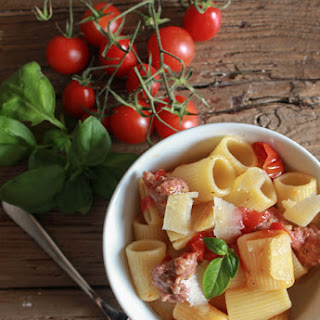 Pasta with Italian Sausage and Fresh Tomatoes.