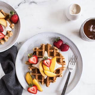 Vegan Vanilla Waffles with Vanilla Maple Cashew Cream