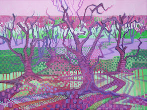 Photo: Orchard Tapestry, acrylic on canvas by Nancy Roberts, copyright 2014. Private collection.
