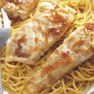 Orange Glazed White Fish with Noodles and Bok Choy.