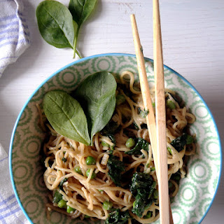 Vegan Spinach Peanut Butter Noodles.