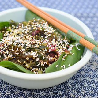 Seaweed Salad with Popped Amaranth & Sesame.