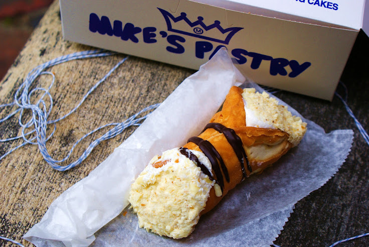 A lobster tail cream cannoli from Mike's Pastry. Photo: Emma Schultz