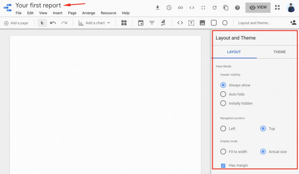 Elección de Layout en Google Data Studio
