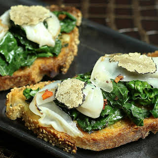 Kale, Lardo and Black Truffle Crostini.