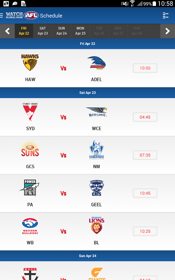 Watch AFL Global Pass- screenshot
