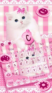 Pink Cute Cat Keyboard Theme - náhled