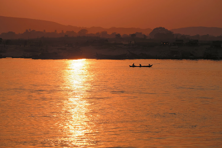 Sunset view from the deck, over the Ayeyarwady River