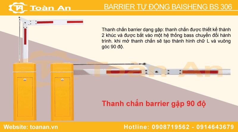 Thanh chắn gập 90 độ của barrier baisheng bs 306.