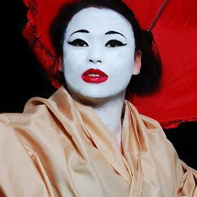 Majestic by Ellason Boyle - People Portraits of Women ( lace, red, geisha, umbrella, yellow, black )