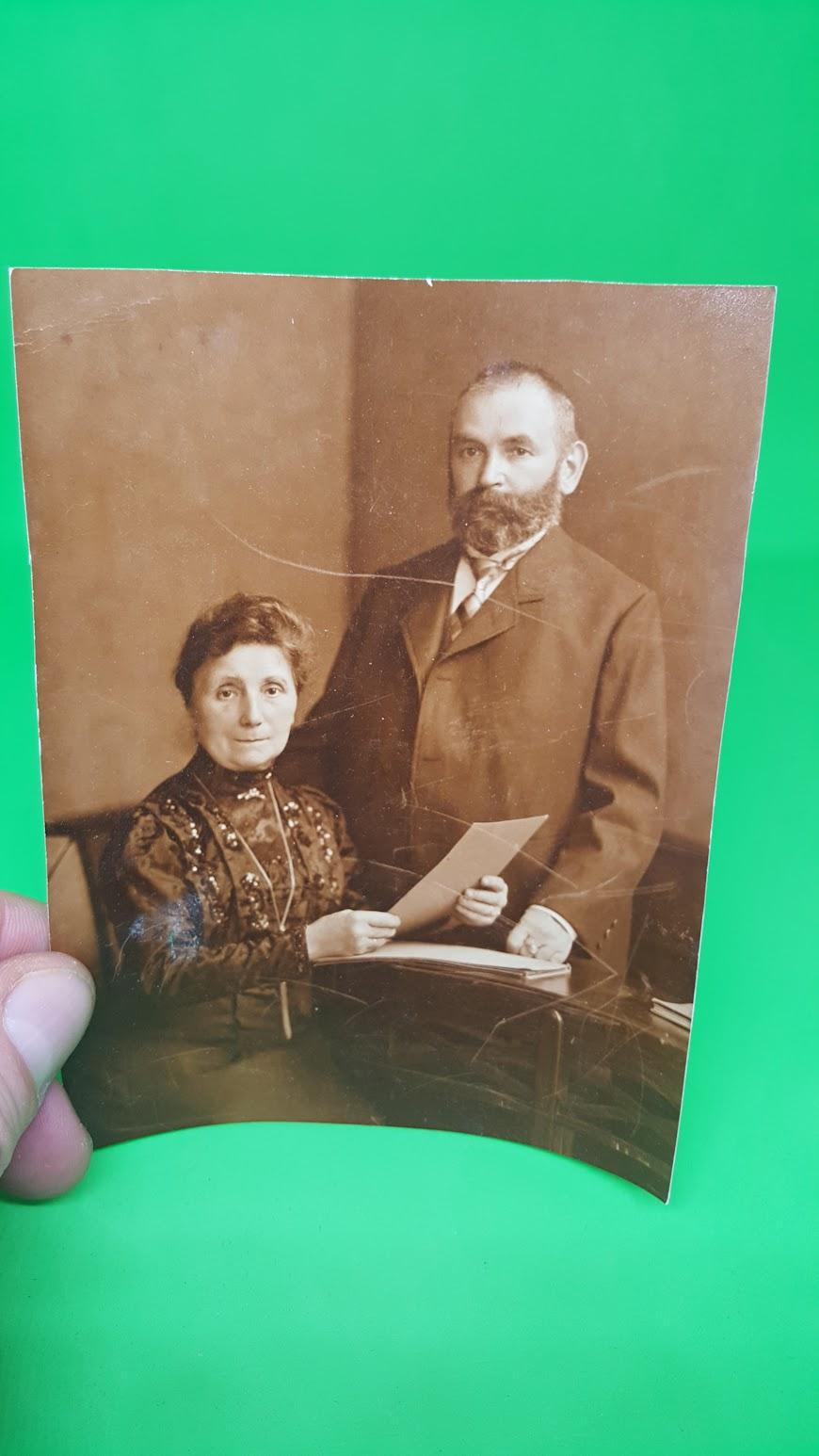 Hochzeit Gustav Lange und Käthe  geb. Hanel, 1.6.1909 - Eltern der Braut, Frieda Hanel