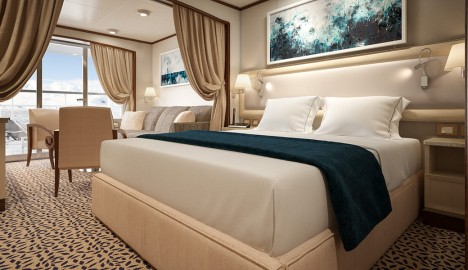 A Veranda Suite on Silver Cloud after it transitions into an expedition ship.