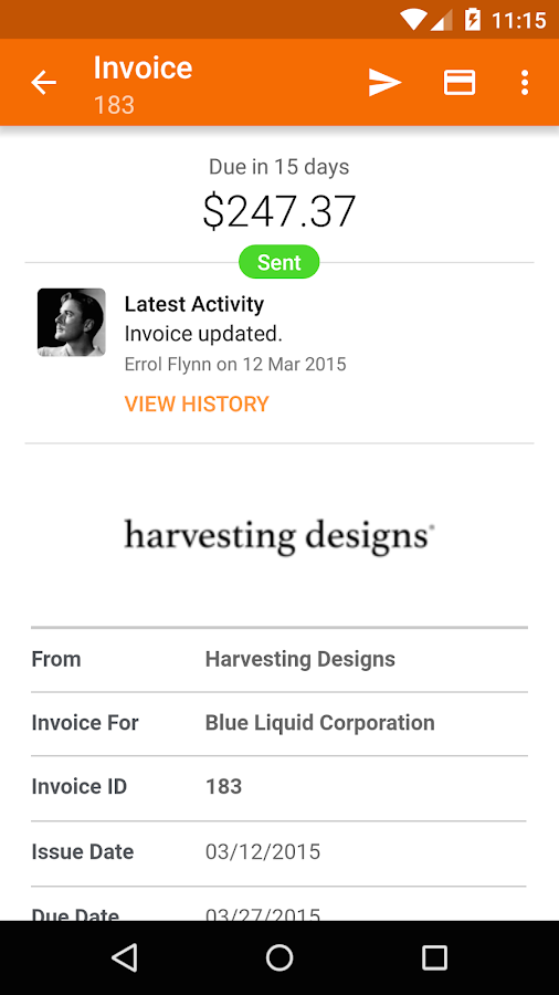Harvest Time & Expense Tracker - screenshot