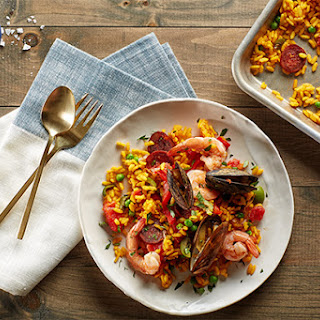 Sheet-Pan Paella with Chorizo, Mussels, and Shrimp.