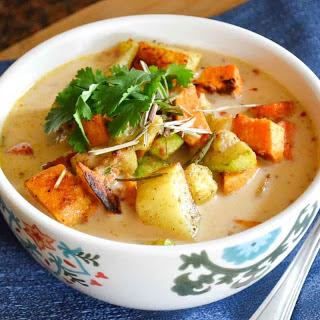 Thai Roasted Vegetables with Peanut Coconut Sauce.