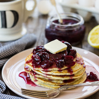 Lemon Poppy Seed Pancakes with Cherry Compote
