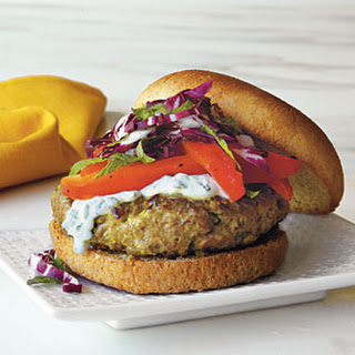 Lamb Burgers with Indian Spices and Yogurt-Mint Sauce.