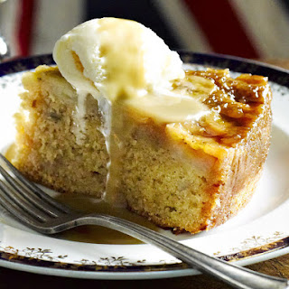 Banana Cake with Butterscotch Sauce.